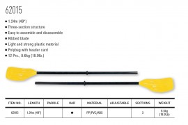 124 cm Bestway 62015 Set de dos remos de pl/ástico